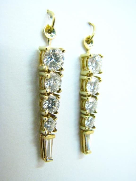 Pair 18K Yellow Gold Diamond Stud Jackets