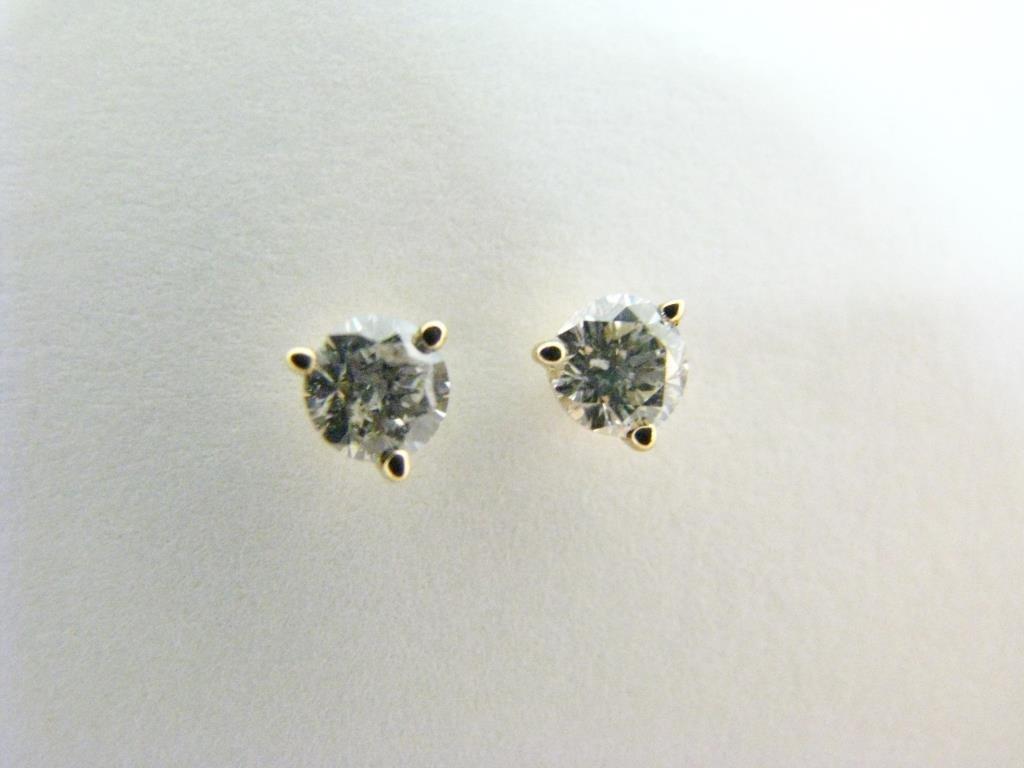 Pair of 14K YG Diamond Stud Earrings
