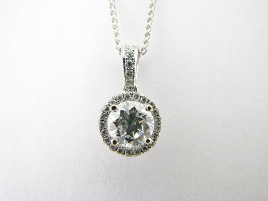 18K White Gold Diamond Pendant