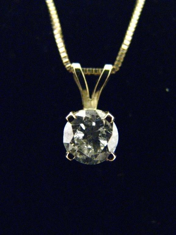 14K White Gold Diamond Solitaire Pendant