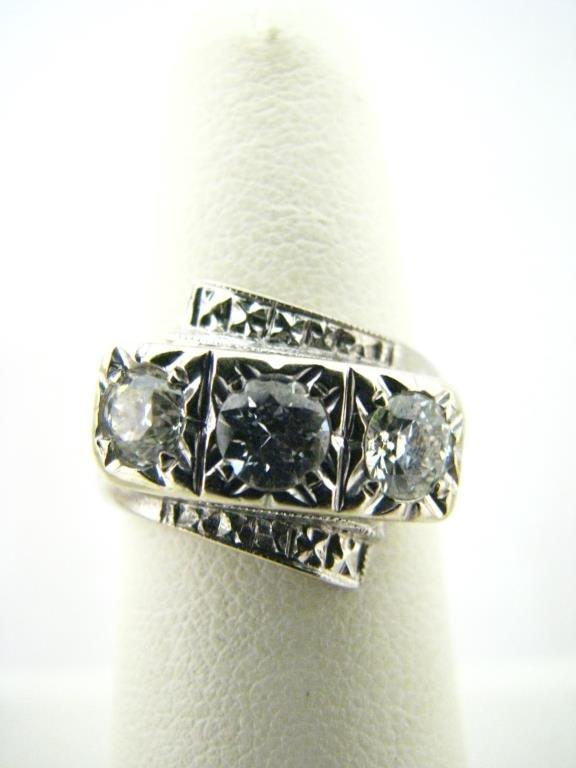 14K White Gold Three Diamond Bypass Ring