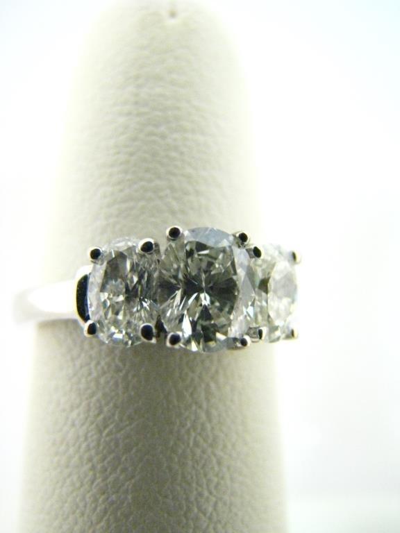 14K White Gold Three Diamond Ring