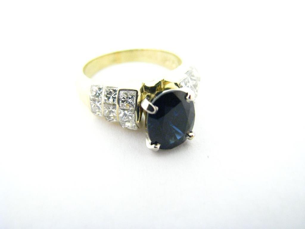 18K Yellow, White Gold Sapphire and Diamond Ring