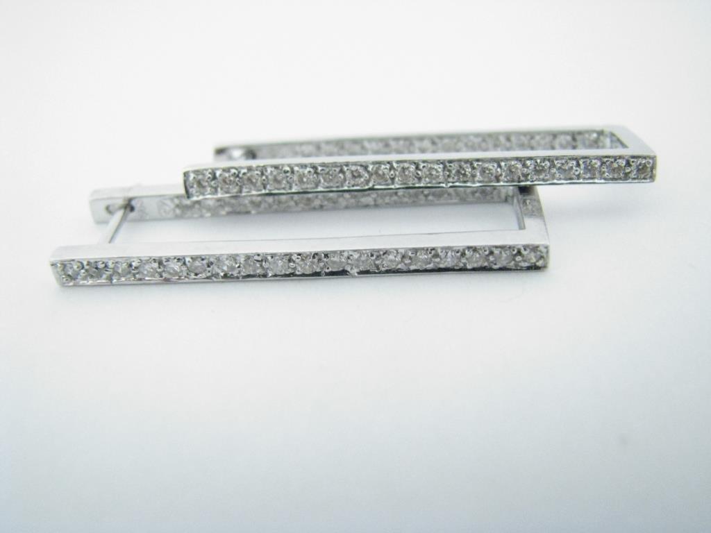 14K White Gold Diamond Rectangular Hoop Earrings