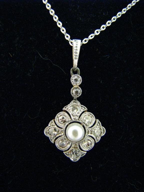 Lady's Platinum, 14K Diamond, Pearl Pendant