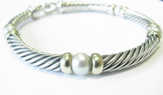 David Yurman Hampton Cable Pearl Bracelet