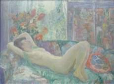 Carl C Graf 17x23 O/B Reclining Nude with Screen