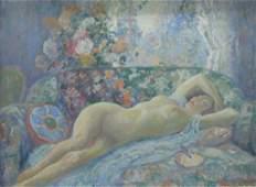 Carl C Graf 17x23 O/B Reclining Nude