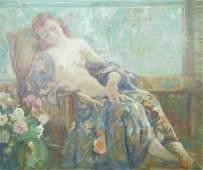 Carl C Graf 12x14 O/B Reclining Nude