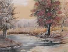 George H Baker 125x165 WC Autumn Landscape