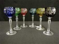 Set of Six Colored Crystal Red Wine Stems