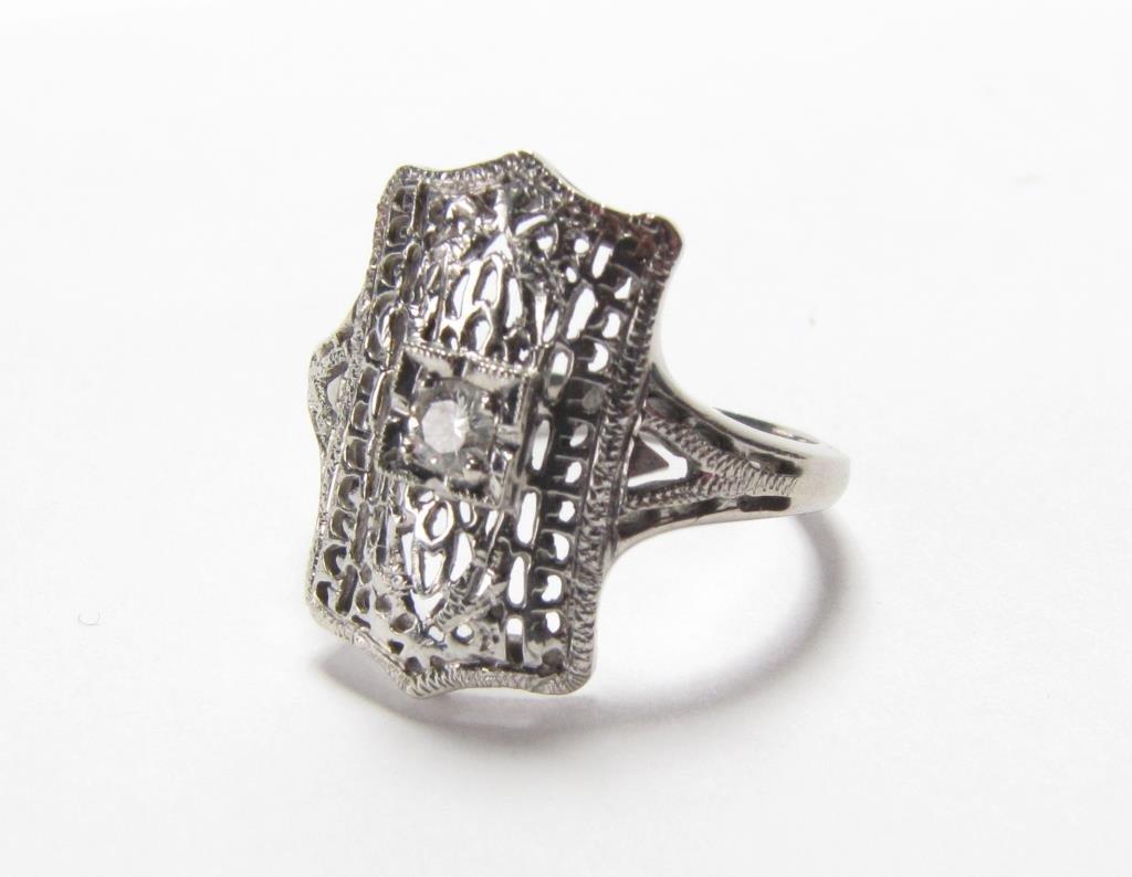 14K White Gold Antique Style Filigree Diamond Ring