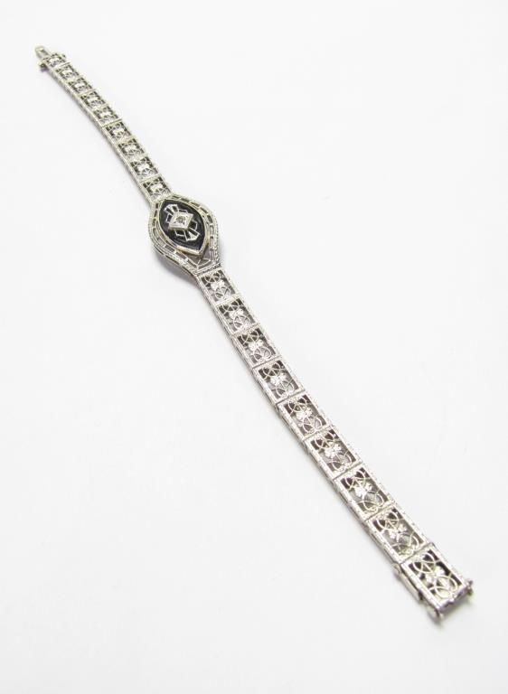 Vintage White Gold Onyx Filigree Bracelet