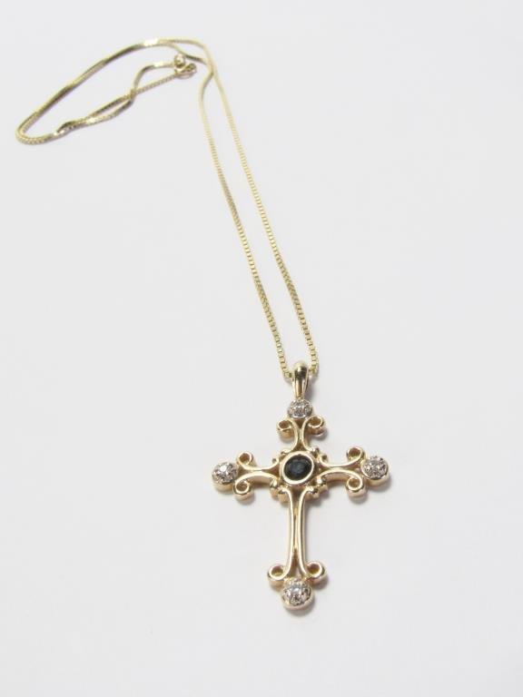 14K Yellow Gold Sapphire and Diamond Cross Pendant