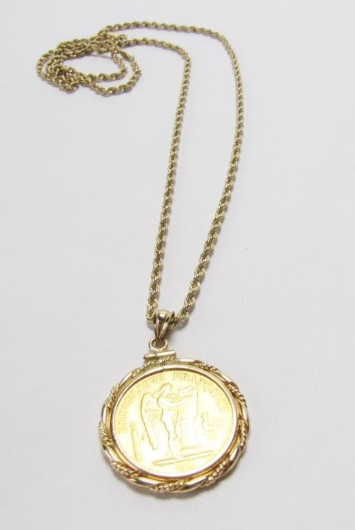 14K Yellow Gold Mounted 20 Franc Angel Coin