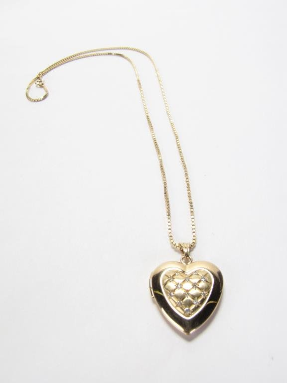 14K Yellow Gold Heart Locket and Chain