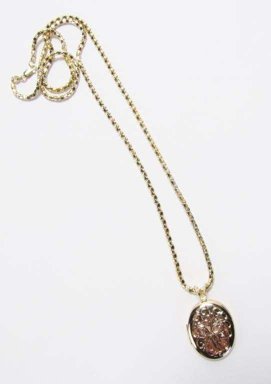 14K Yellow Gold Locket Pendant and Chain