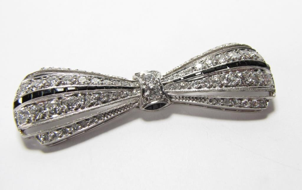 Platinum 4CT Diamond and Onyx Bow Pin