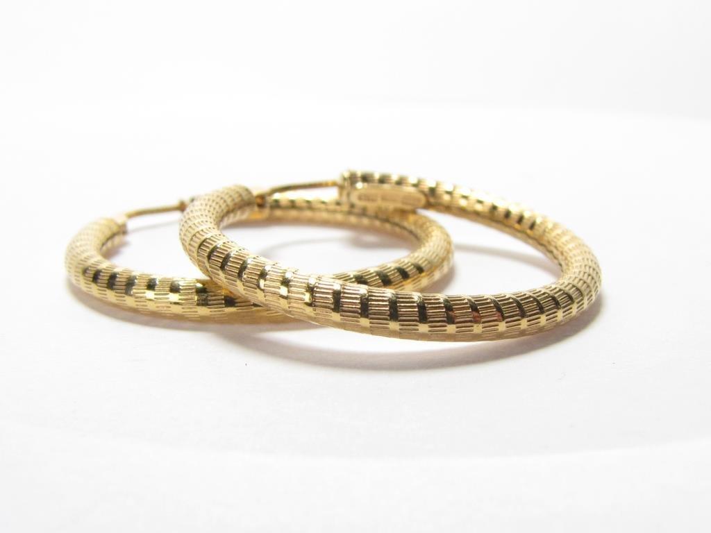18K Yellow Gold Textured Hoop Earrings