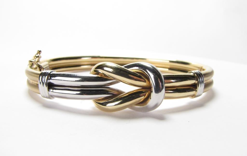 14K Gold Love Knot Bangle Bracelet