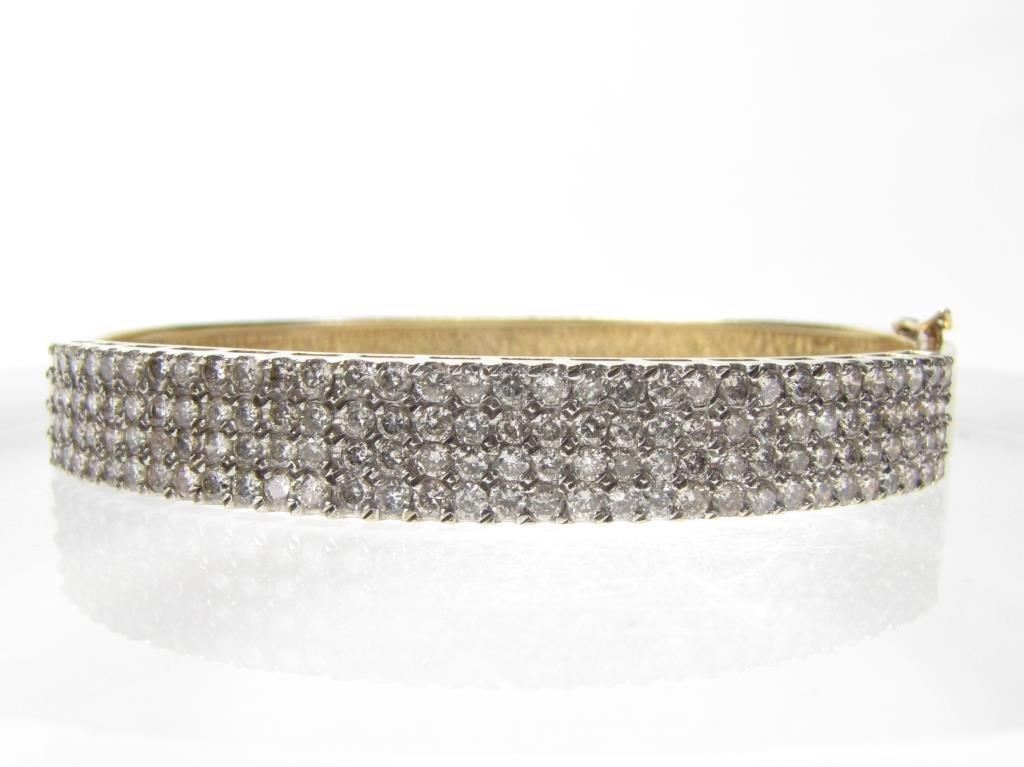 14K Yellow Gold 3CT+ Diamond Hinged Bracelet