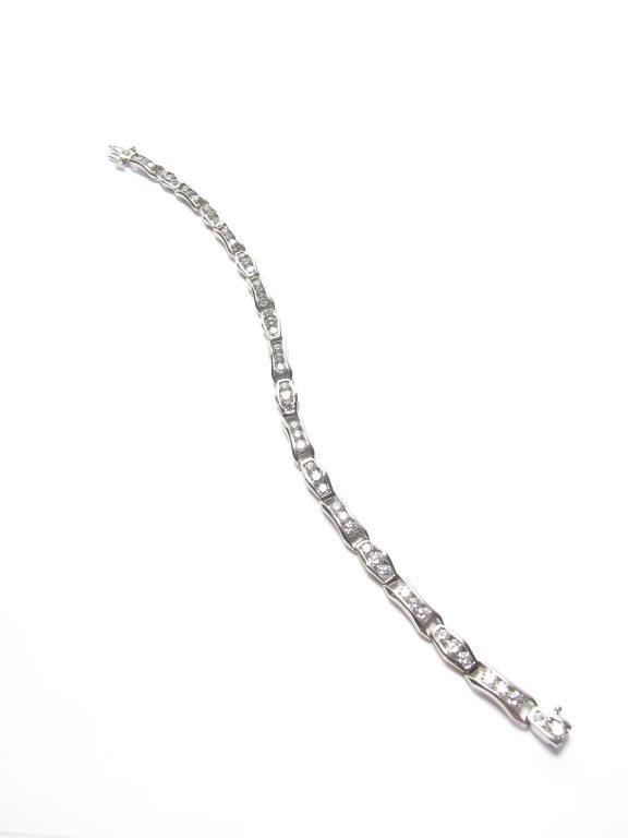 14K White Gold 5CT Diamond Link Bracelet