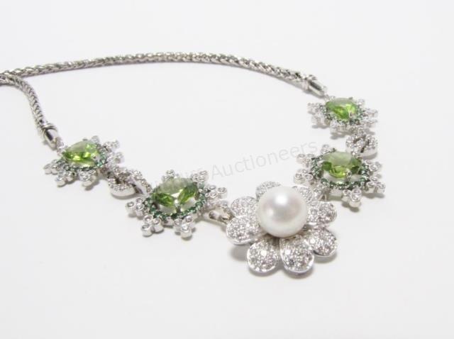 18K Peridot, Tsavorite, Pearl, Diamond Necklace