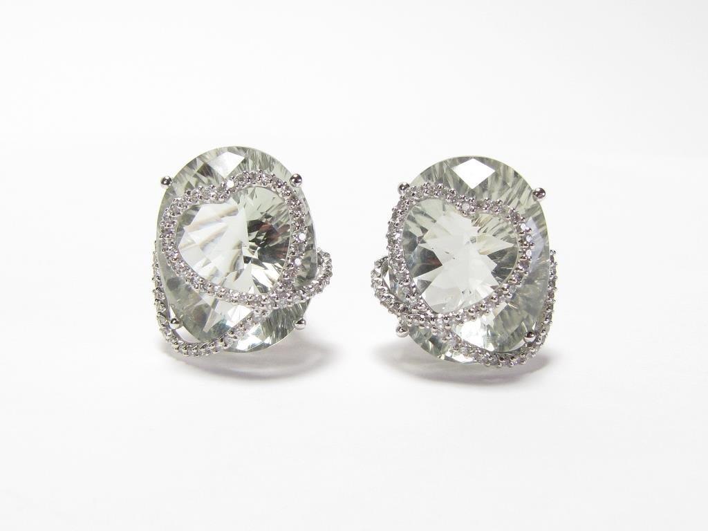 Judith Ripka, 14K Quartz, Diamond Earrings - 2