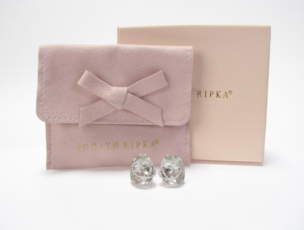 Judith Ripka, 14K Quartz, Diamond Earrings - 3