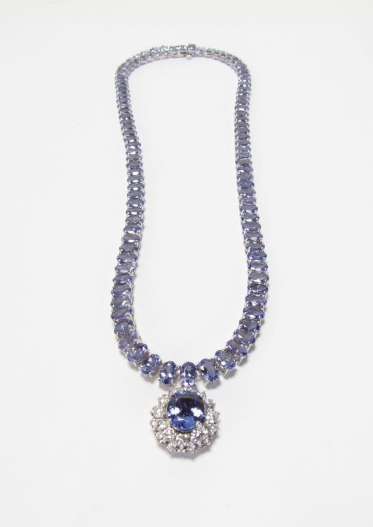 14K White Gold Tanzanite, Diamond Riviera Necklace