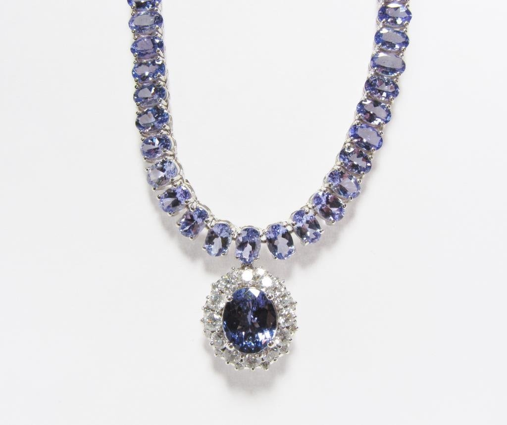 14K White Gold Tanzanite, Diamond Riviera Necklace - 2