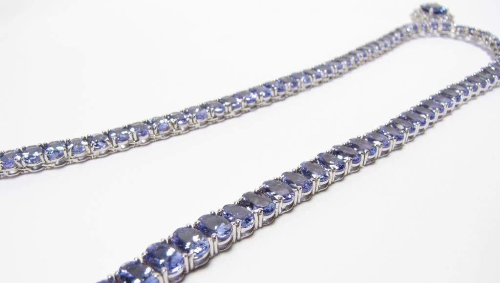 14K White Gold Tanzanite, Diamond Riviera Necklace - 3