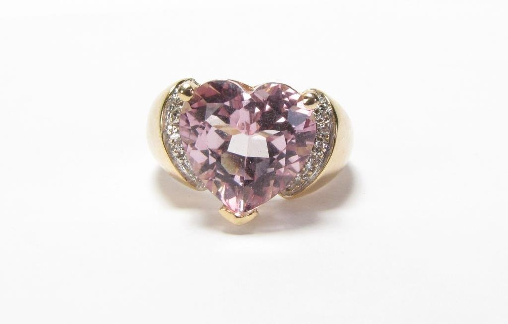 14K Yellow Gold JCR Heart Shaped Morganite Ring