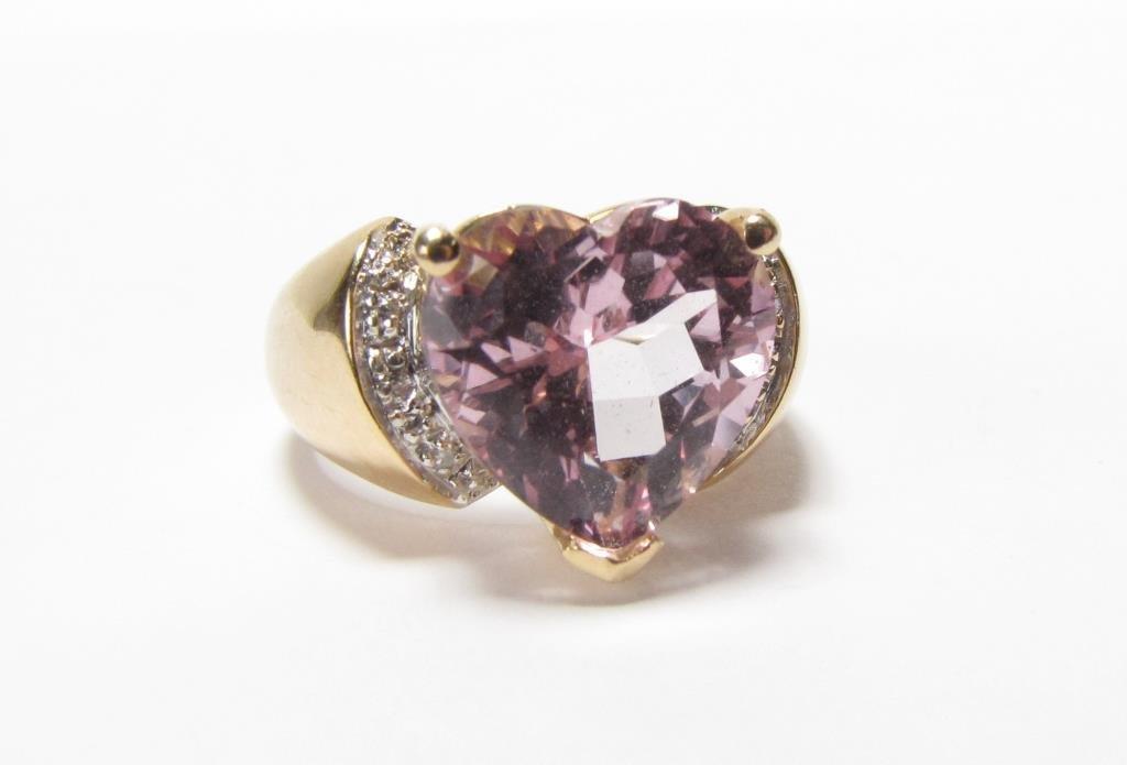 14K Yellow Gold JCR Heart Shaped Morganite Ring - 2