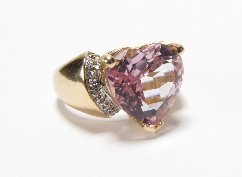 14K Yellow Gold JCR Heart Shaped Morganite Ring - 3