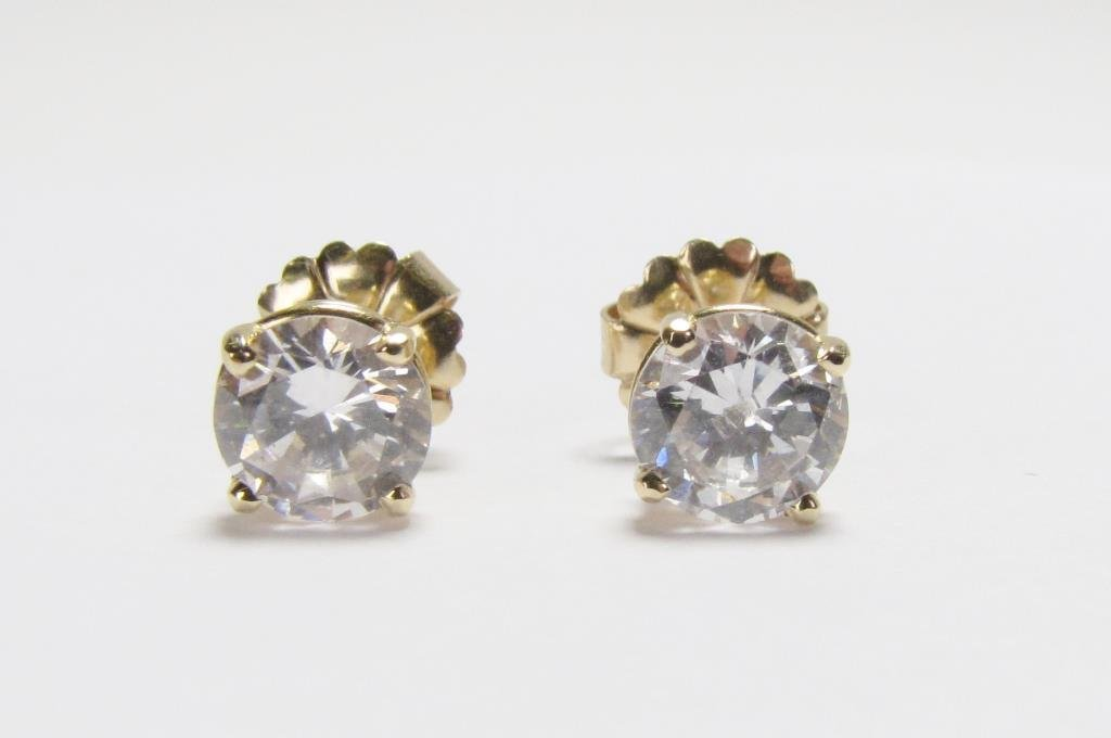 Pair of 14K Yellow Gold Earrings, CZ