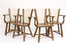 Set of Four Romweber Viking Oak Horsehead Chairs