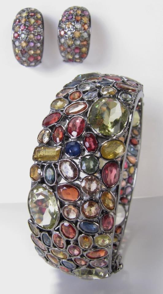 Sterling Multi Stone LJ Earrings and Bangle