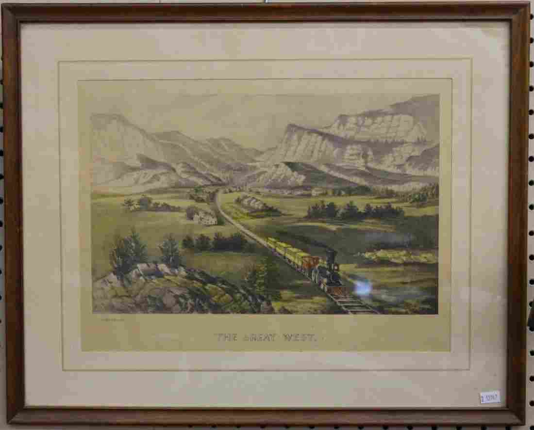 Two Color Etchings and Currier/Ives Print