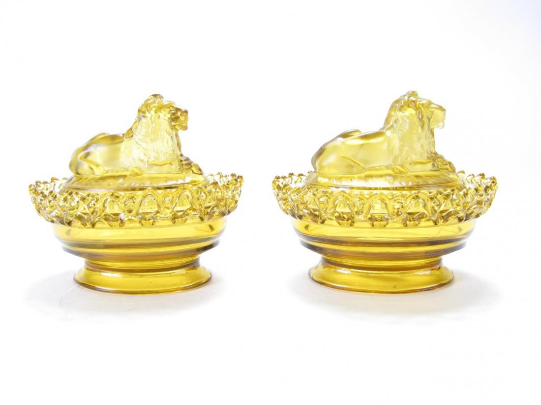 Pair of Imperial Amber Glass Lion Candy Dishes