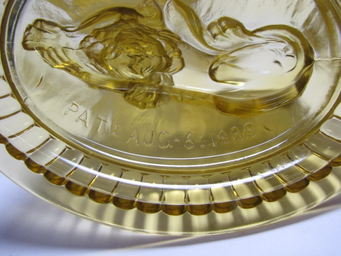 Pair of Imperial Amber Glass Lion Candy Dishes - 3