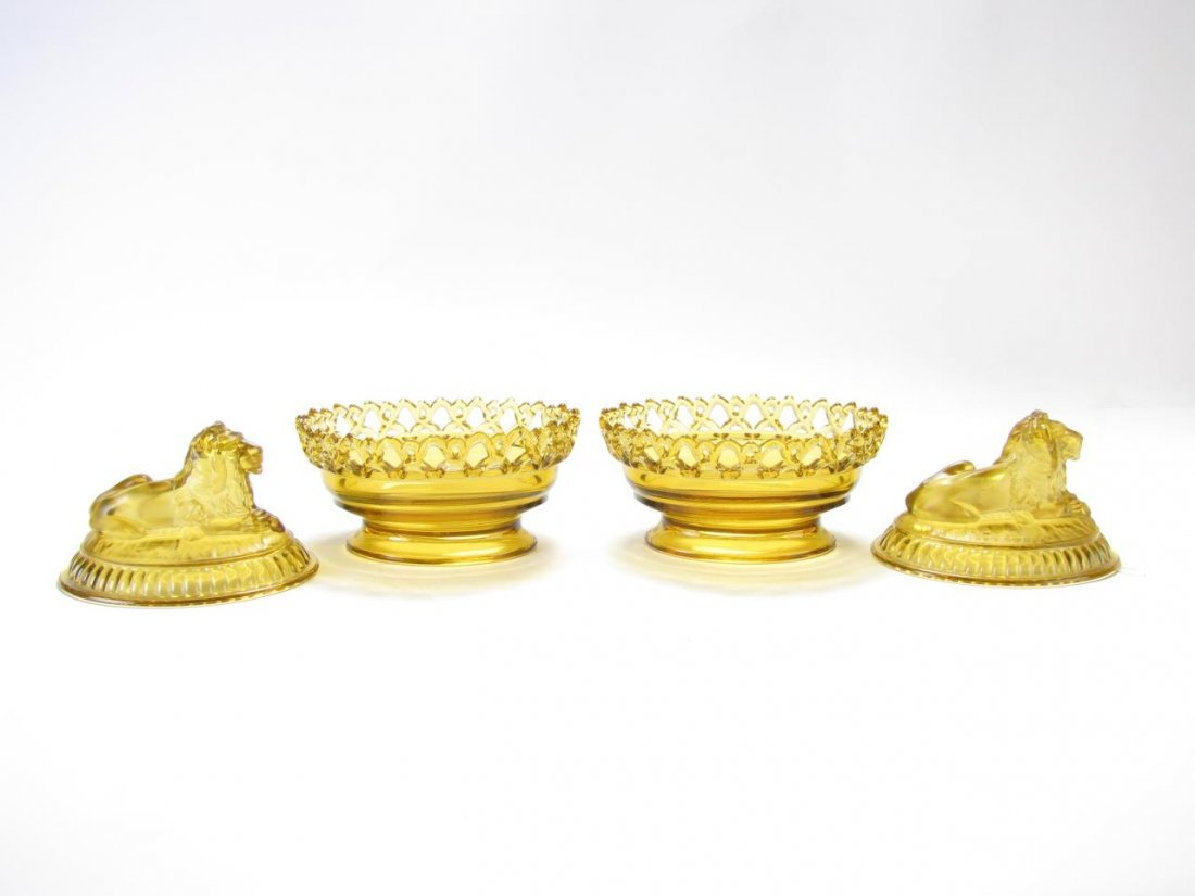 Pair of Imperial Amber Glass Lion Candy Dishes - 5