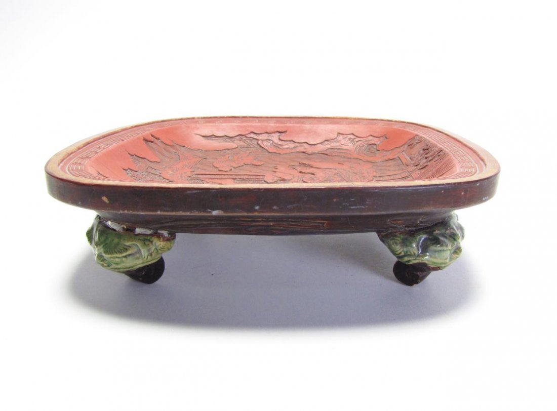 Chinese Carved Cinnabar Footed Bowl