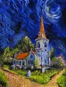 "Robert L. Bratton 14x11 O/C ""Lower Slaughter Church"