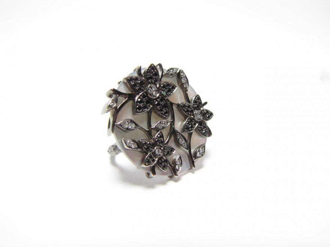 18K White Gold M-O-P, Diamond Faber Green Ring