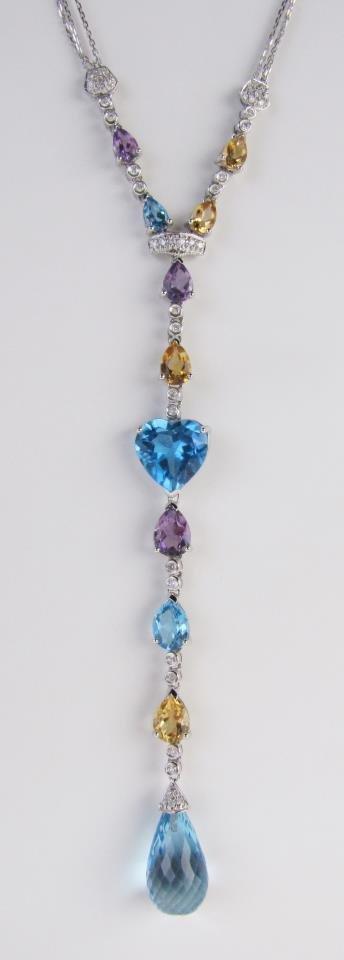 18K Amethyst, Topaz, Citrine, Diamond Necklace