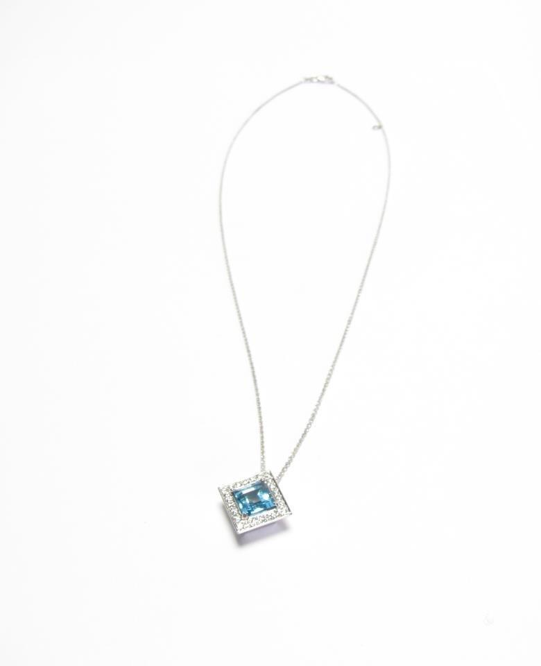 18K White Gold Blue Topaz, Diamond Pendant