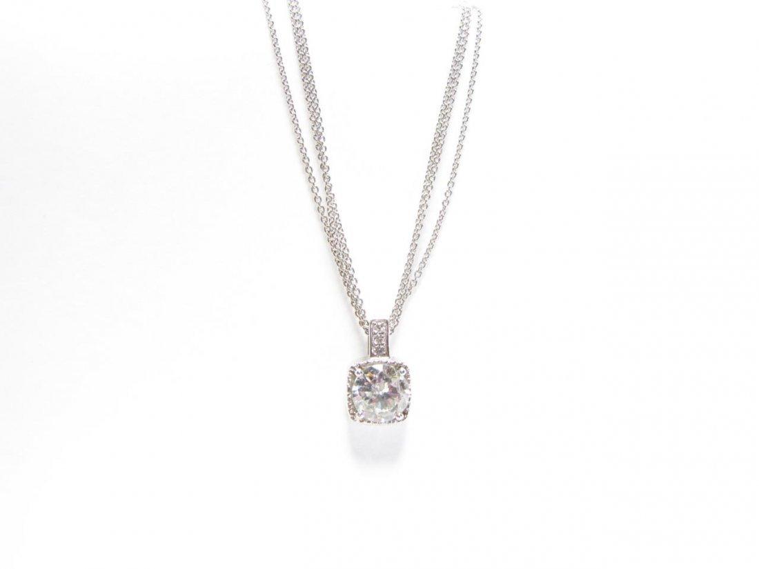 14K White Gold Diamond Pendant, Triple Chain