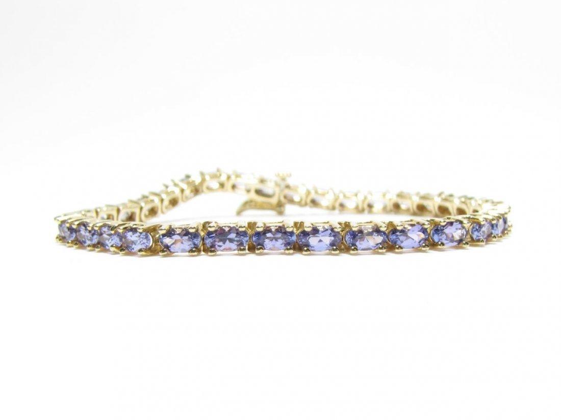 14K Yellow Gold Tanzanite Bracelet, 10Ct