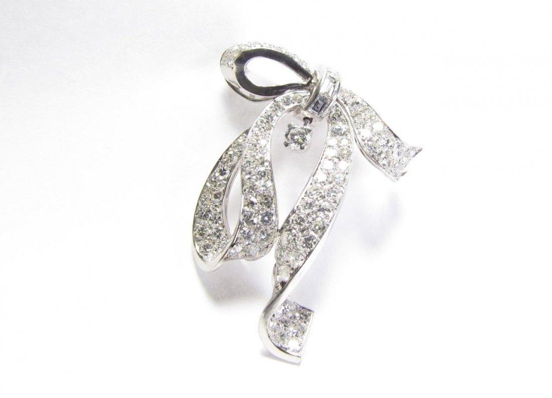 Platinum Diamond Bow Ribbon Pin